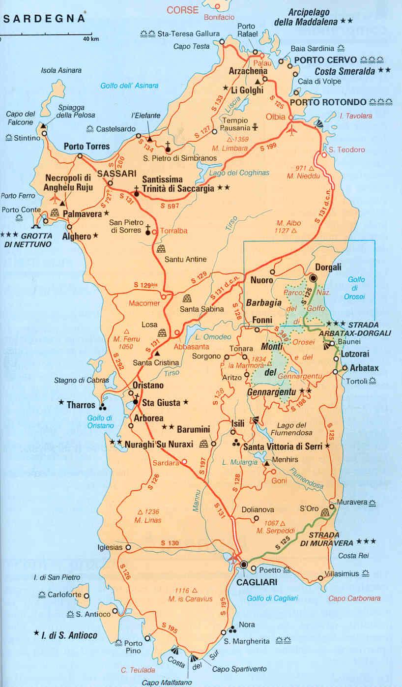 Carte Sardaigne Nord.Sardaigne 2013